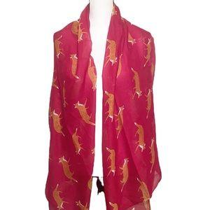 Joy Susan Red Fox Print Novelty Scarf Wrap Shawl 100% Viscose